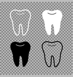 a set of teeth white black and transparent vector image