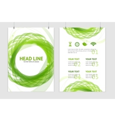 Abstract geometric green round brochure vector