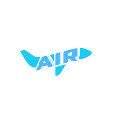 airplane abstract concept logo air plane blue vector image