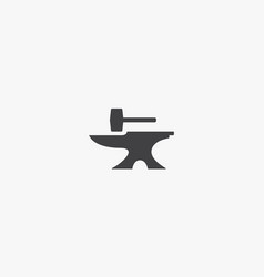 Anvil with hammer icon isolated on white vector