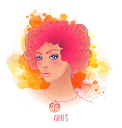 Aries astrological sign as a beautiful girl vector