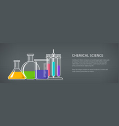 beakers and test-tube banner vector image