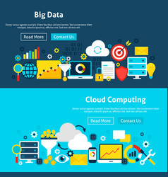 Big data analysis website banners vector