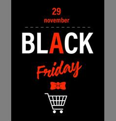 black friday on november 29 shopping trolley vector image