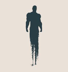 bodybuilder silhouette sketched vector image