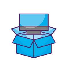 box with monitor computer isolated icon vector image