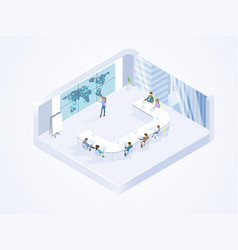 business team working in office isometric vector image