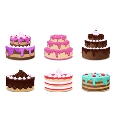 Cakes set Icons on white background vector