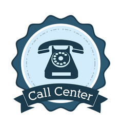 call center telephone line support badge vector image