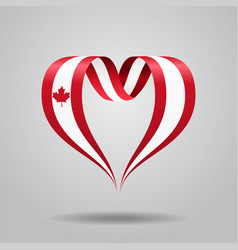 Canadian flag heart-shaped ribbon vector