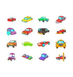 car icon set cartoon style vector image
