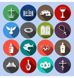 Christianity Icons Set Flat vector image vector image
