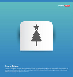 christmas tree icon - blue sticker button vector image