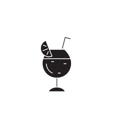 cocktail glass black concept icon cocktail vector image