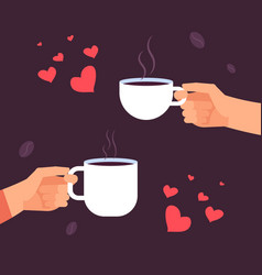 coffee lovers concept hands with coffee vector image
