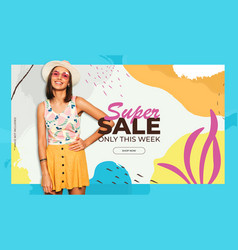 Colorful sale background with memphis style vector