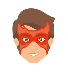 Colorful silhouette with guy superhero with mask vector