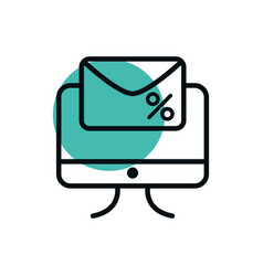 computer email marketing offer shopping line style vector image