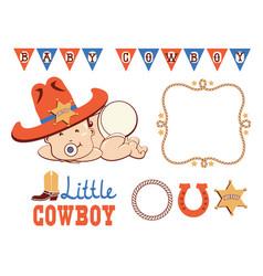Cowboy birthday party set baby in western vector