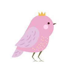 cute kawaii purple bird in crown seasonal vector image