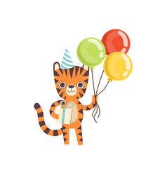 cute little tiger in party hat standing vector image
