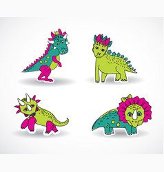 dinosaurs objects shadow vector image