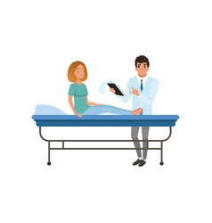 Doctor examining his female patient at hospital vector