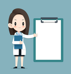 Female doctor tiny character health tips report vector