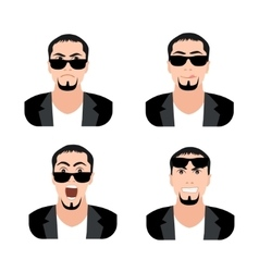 Flat Men with Faces Icons Set Set of Men Avatars vector image