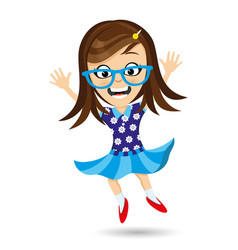 girl with glasses in a jump vector image