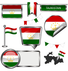 Glossy icons with flag of tajikistan vector