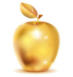 Golden apple with drop of dew vector