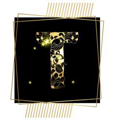 golden ornamental alphabet letter t font vector image