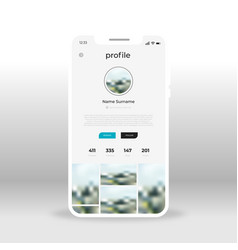gray social network profile ui ux gui screen for vector image