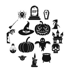 halloween icons set simple style vector image