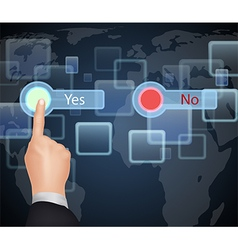Hand Choose Yes or No on virtual screen vector image