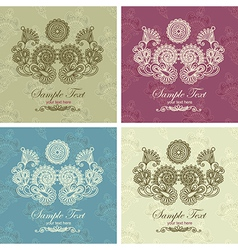 hand draw ornate vintage frame in floral backgroun vector image vector image