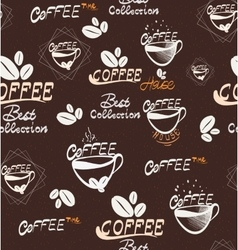 hand drawing coffee seamless pattern vector image