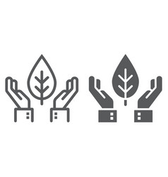 hands holding plant line and glyph icon ecology vector image