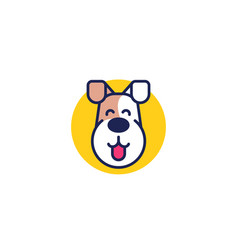 happy dog logo with jack russell vector image