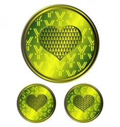 Heart coins vector