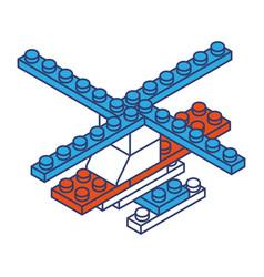 Helicopter toy building block bricks vector