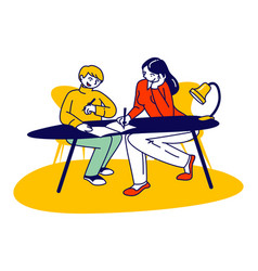 Homeschooling concept young woman and schoolboy vector