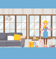 Housewife cleaning apartment vector