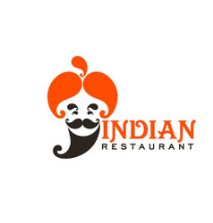 Indian cuisine restaurant icon chef with turban vector