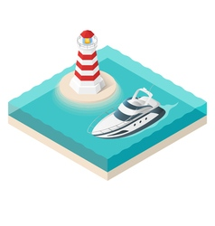 isometric yacht and a lighthouse on tropical vector image