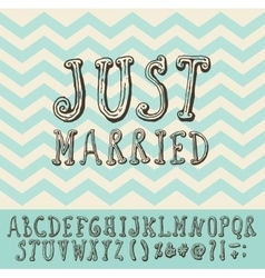 Just Married Vintage Trendy Font Type vector