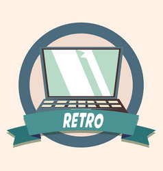 laptop technology retro shopping vintage label vector image
