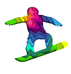 layered paper cut colorful snowboarder silhouette vector image