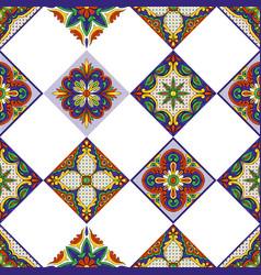 mexican talavera ceramic tile pattern ethnic folk vector image